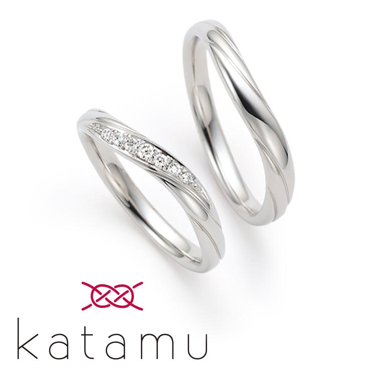 日本製鍛造の結婚指輪カタム 木の芽風