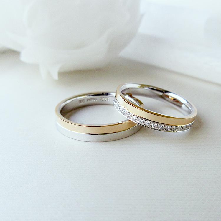鍛造の結婚指輪かたむのハーフエタニティリング八千代