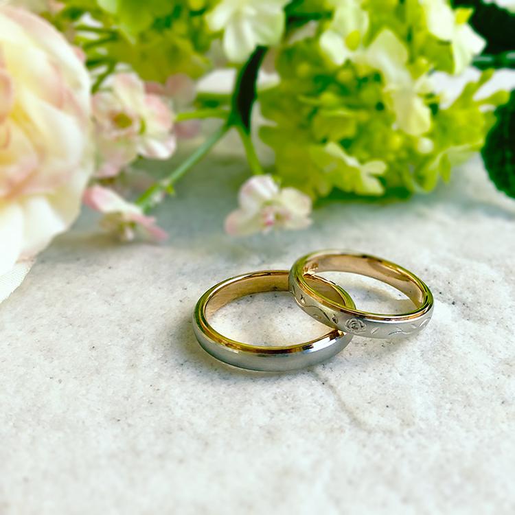 プチマリエ,バラの模様が手彫りされた結婚指輪,pm03とpm04